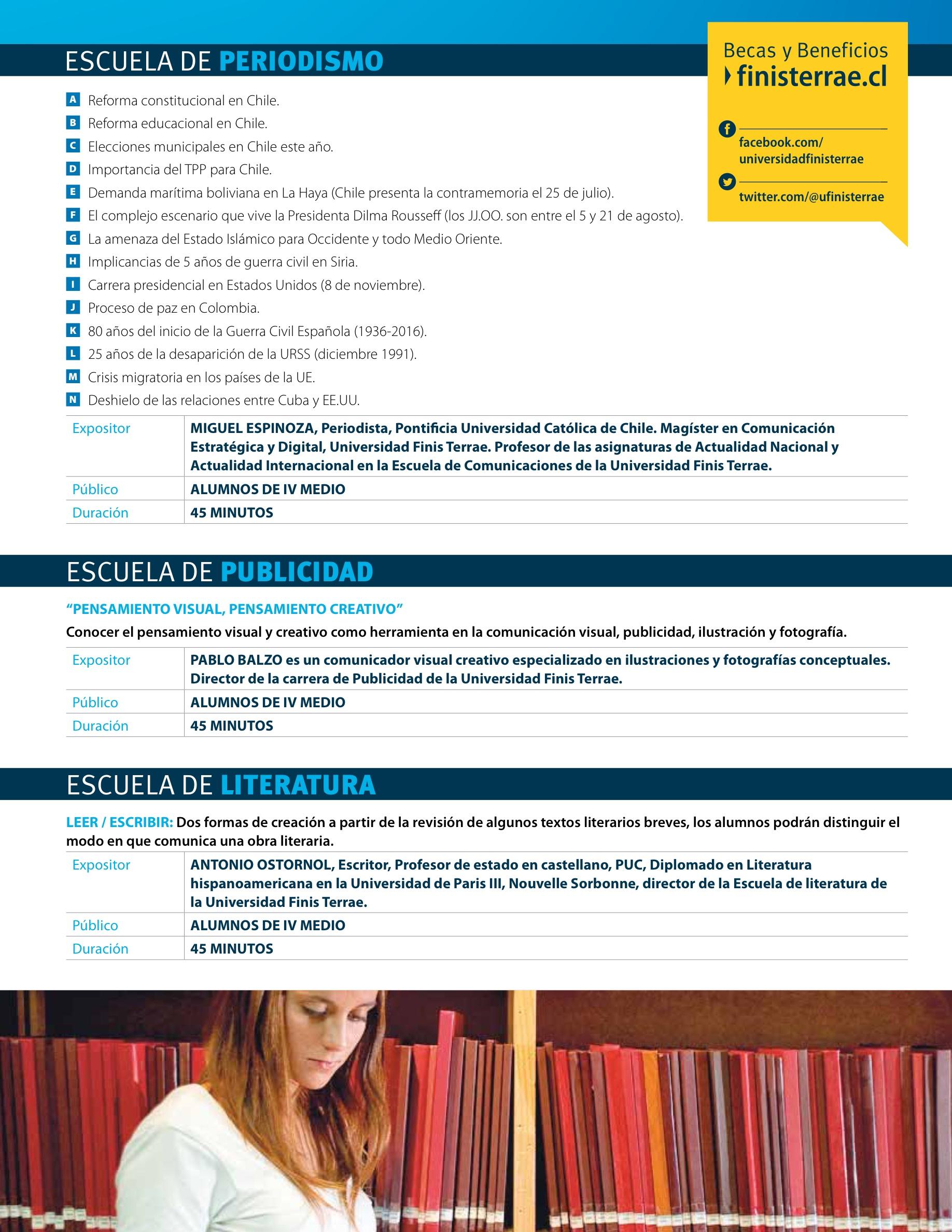 Actividades para ti - Folleto Actividades - Universidad Finis Terrae