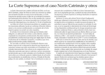 El Mercurio | Académicos de Derecho se refirieron a la decisión de la Corte Suprema en el caso Norín Catrimán y otros
