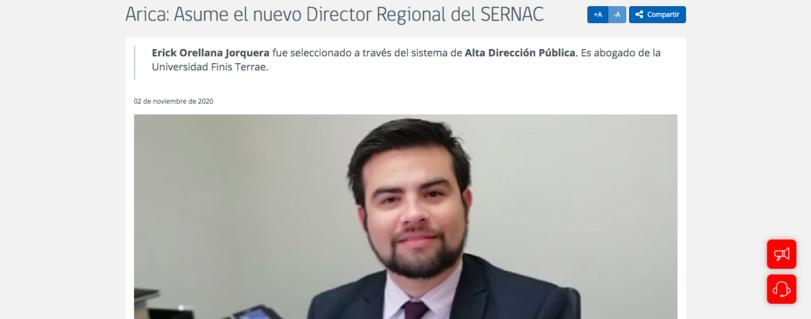 """Alumni Erick Orellana Jorquera asume como Director del SERNAC de la Región de Arica y Parinacota: """"El Derecho te da la posibilidad de tener un trabajo con sentido como éste, donde lo que logres va en directo beneficio de los ciudadanos"""""""