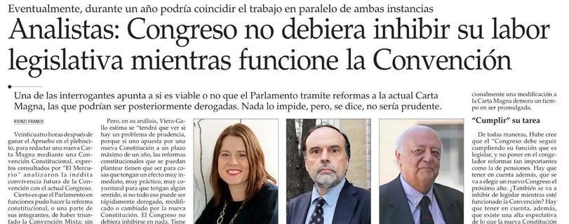 El Mercurio   Académico Enrique Navarro analizó el inédito funcionamiento en paralelo del Congreso Nacional y la futura Convención Constitucional