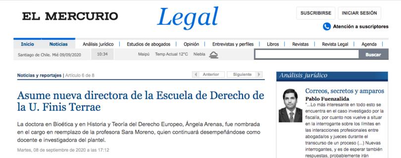 El Mercurio Legal | Destacan asunción de Doctora Ángela Arenas Massa como nueva Directora de la Escuela de Derecho de la Universidad Finis Terrae