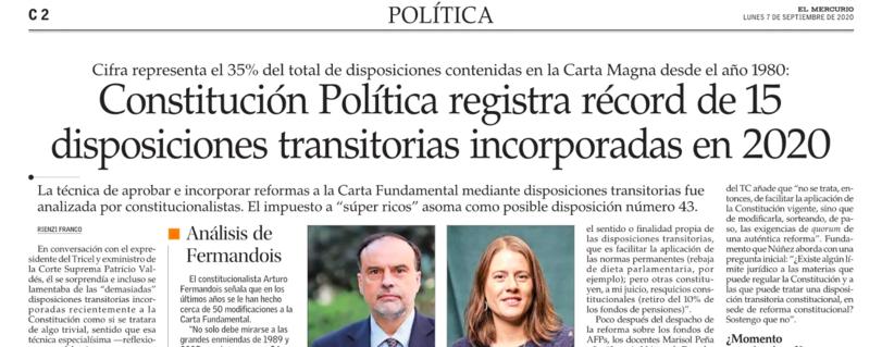 El Mercurio | Académico Enrique Navarro analiza inusual aumento de disposiciones transitorias incorporadas a la Constitución durante 2020