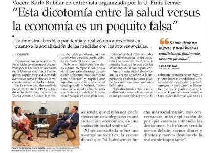 El Mercurio | Diario destacó el 1° webinar de Medicina