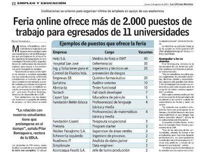 Las Últimas Noticias | Feria online ofrece más de 2.000 puestos de trabajo para egresados de 11 universidades