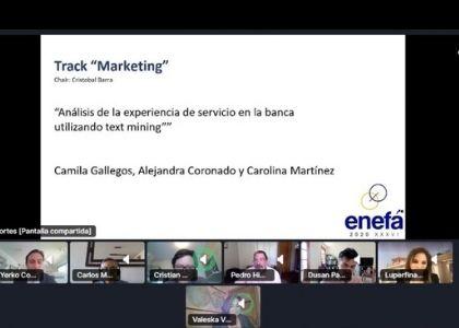 """Estudiantes y docente de la Escuela de Ingeniería Comercial recibieron premio al mejor """"Paper del Track Marketing - ENEFA 2020"""""""