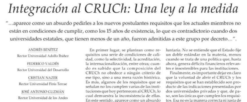 Integración al CRUCh: Una ley a la medida