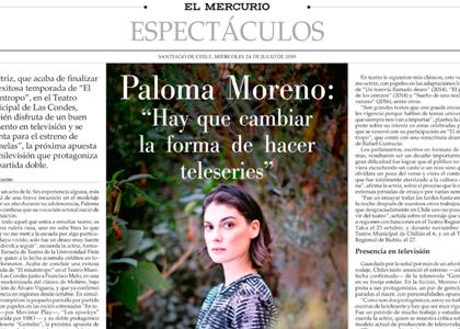 El Mercurio | Paloma Moreno, egresada de la Escuela de Teatro, es protagonista de la nueva teleserie de Chilevisión