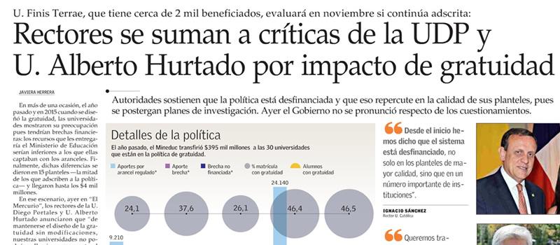 Rectores se suman a críticas de la UDP y U. Alberto Hurtado por impacto de gratuidad